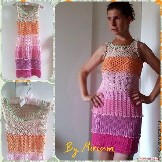 Платья ручной работы. Ярмарка Мастеров - ручная работа. Купить Вязанное платье. Handmade. Комбинированный, абстрактный, хлопок 100%