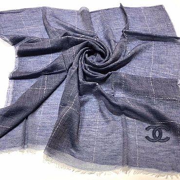 Винтаж ручной работы. Ярмарка Мастеров - ручная работа Шаль Chanel серо-голубая кашемир 140х140 см. Handmade.