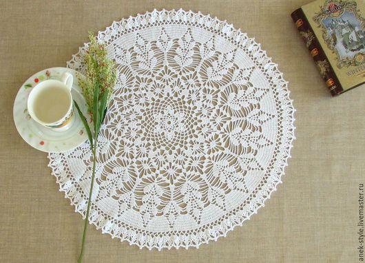 Текстиль, ковры ручной работы. Ярмарка Мастеров - ручная работа. Купить Салфетка с бордюром. Handmade. Белый, салфетка крючком