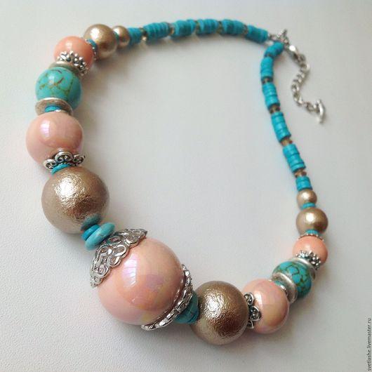 Бусы крупные летние розовые бирюзовые колье ожерелье из жемчуга Майорка купить в подарок девушке женщине любимой подруге украшение на шею ручной работы авторское в отпуск на море