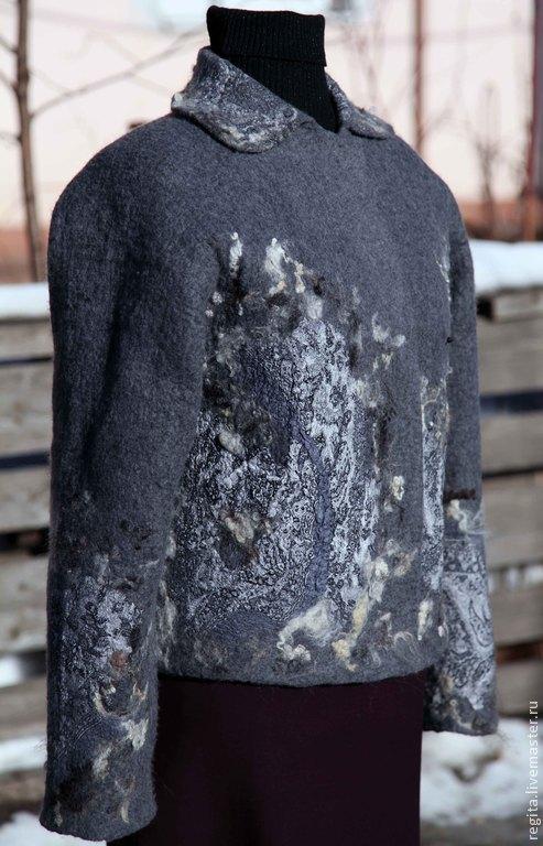 Верхняя одежда ручной работы. Ярмарка Мастеров - ручная работа. Купить Полупальто валяное. Handmade. Серый, пальто, женская одежда