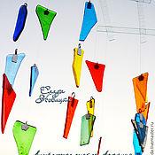 """Для дома и интерьера ручной работы. Ярмарка Мастеров - ручная работа Мобиль """"Музыка ветра"""" стекло, фьюзинг. Handmade."""