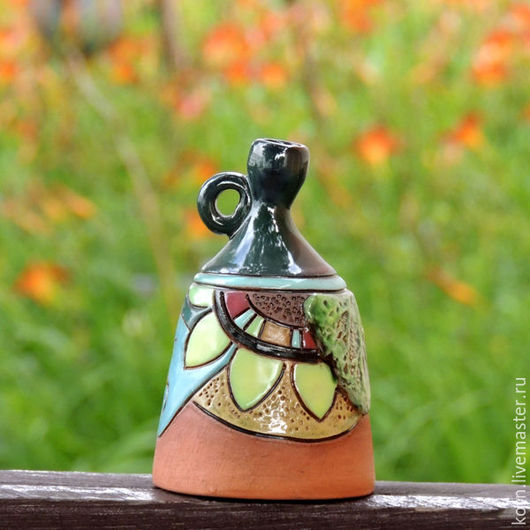 """Колокольчики ручной работы. Ярмарка Мастеров - ручная работа. Купить Колокольчик """"В гармонии с природой"""". Handmade. Зеленый, природа, подсолнух"""