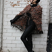 Одежда ручной работы. Ярмарка Мастеров - ручная работа Пончо-накидка из шерсти меха и кожи. Handmade.