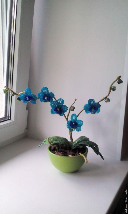 Искусственные растения ручной работы. Ярмарка Мастеров - ручная работа. Купить Орхидея из бисера. Handmade. Бисер чешский, фиолетовый цвет