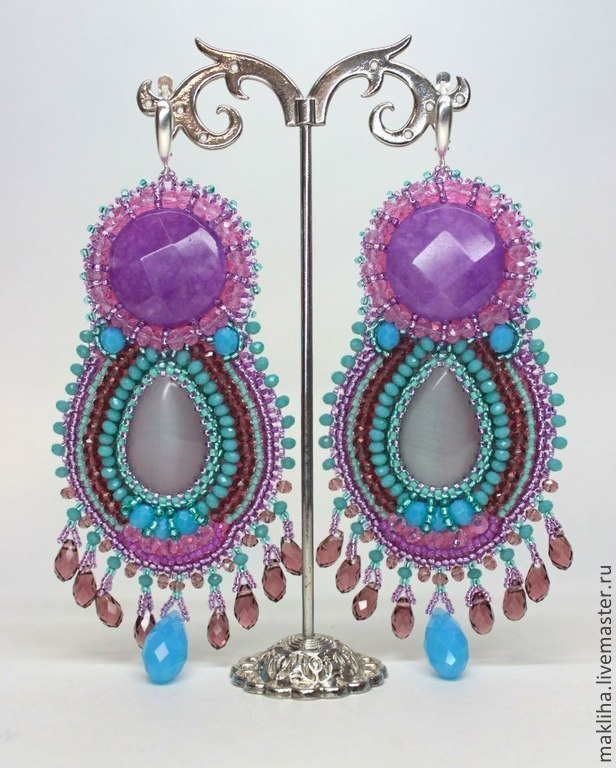 Large earrings and a ring ' Belle femme', Earrings, Moscow,  Фото №1