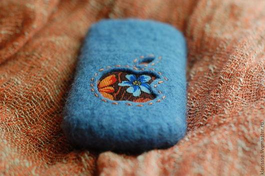 """Для телефонов ручной работы. Ярмарка Мастеров - ручная работа. Купить Чехол для IPhone """"Русский стиль"""", голубой и оранжевый. Handmade."""