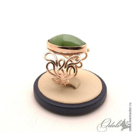 Кольца ручной работы. Ярмарка Мастеров - ручная работа. Купить Золотой перстень с нефритом Buta. Handmade. Тёмно-зелёный, нефрит