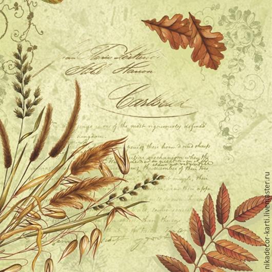 Листья на зеленом (SLOG014601) - салфетка для декупажа, , Москва, Фото №1