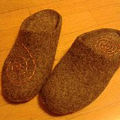 Обувь ручной работы. Ярмарка Мастеров - ручная работа natural grey тапочки. Handmade.