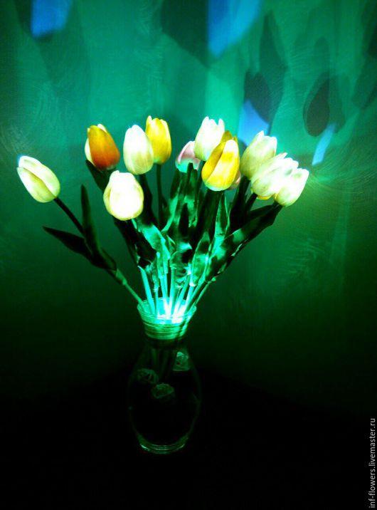 Освещение ручной работы. Ярмарка Мастеров - ручная работа. Купить Светильник Тюльпаны. Handmade. Комбинированный, ночник, искусственные цветы, Декор