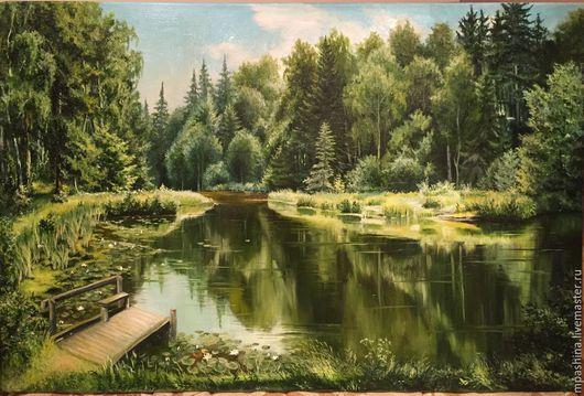 Пейзаж ручной работы. Ярмарка Мастеров - ручная работа. Купить Лесное озеро 2. Handmade. Смешанный лес, лесное озеро