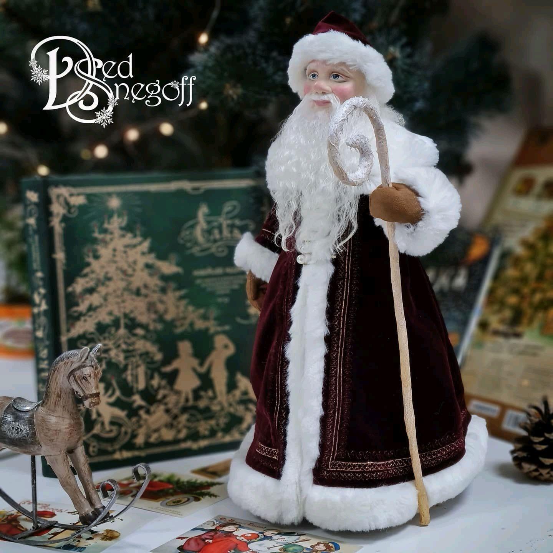 Дед Мороз 40 см Бордо с золотом, Интерьерная кукла, Севастополь,  Фото №1