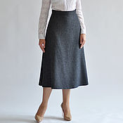 Одежда handmade. Livemaster - original item Skirt gray a-line MIDI. Handmade.