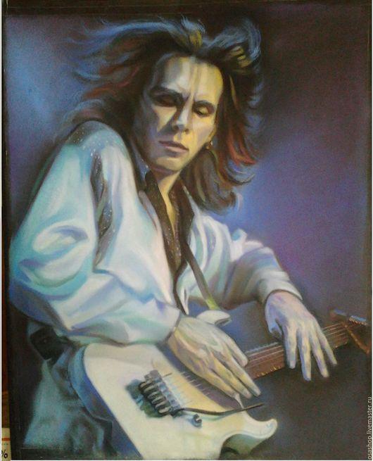 Люди, ручной работы. Ярмарка Мастеров - ручная работа. Купить гитарист Steve Vai. Handmade. Синий, пастель, картина, кумиры