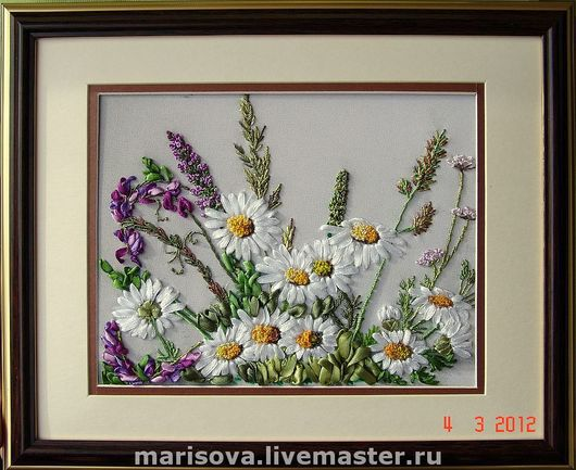 """Картины цветов ручной работы. Ярмарка Мастеров - ручная работа. Купить Картина лентами """"Тихая мелодия"""". Handmade. Полевые цветы"""
