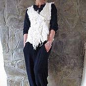 """Одежда ручной работы. Ярмарка Мастеров - ручная работа Валяный жилет """"Белый шик"""" (нуно-войлок). Handmade."""