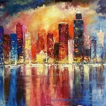 Картины и панно ручной работы. Ярмарка Мастеров - ручная работа Большая картина маслом - Ритмы ночного города. Handmade.
