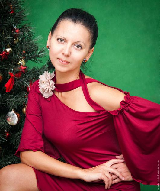 """Платья ручной работы. Ярмарка Мастеров - ручная работа. Купить Бордовое платье """"МАРСАЛА"""". Handmade. Бордовый, марсала, модный цвет"""