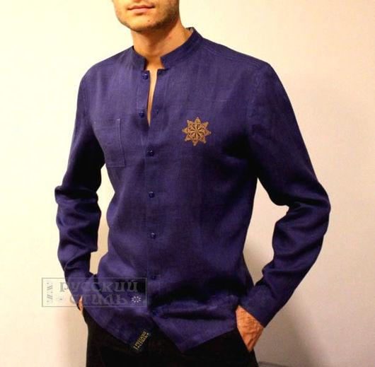 """Для мужчин, ручной работы. Ярмарка Мастеров - ручная работа. Купить Рубаха """"Древо Рода"""". Handmade. Тёмно-синий"""