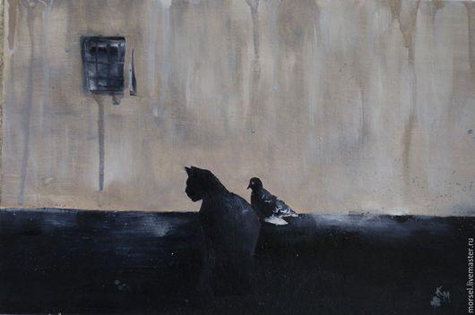 Символизм ручной работы. Ярмарка Мастеров - ручная работа. Купить Одиночество. Handmade. Бежевый, птица, картина, картина для интерьера, художник