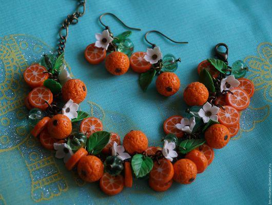 Комплекты украшений ручной работы. Ярмарка Мастеров - ручная работа. Купить Комплект с апельсинами из полимерной глины. Handmade. Оранжевый