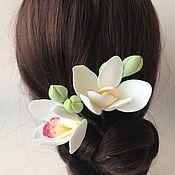 Свадебный салон handmade. Livemaster - original item Studs with white orchids made of polymer clay. Handmade.