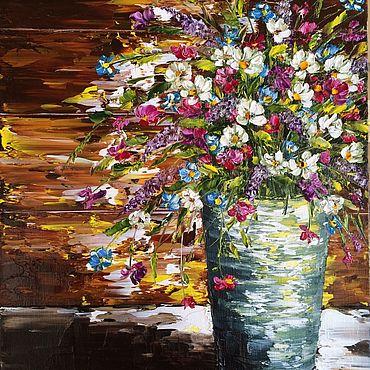 Картины и панно ручной работы. Ярмарка Мастеров - ручная работа Картина маслом Для тебя букет полевых цветов репродукция на холсте. Handmade.