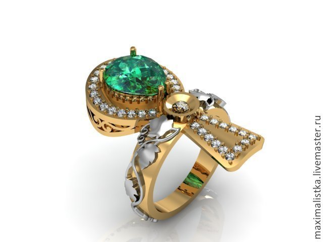 The Ring Is An Ankh Gold 585 Emerald Diamonds