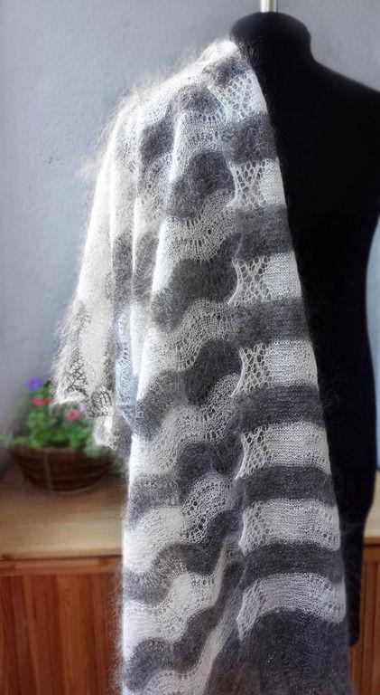 № 59 Палантин вязаный, ручная работа, из натуралного козьего пуха, оренбургский пуховый платок