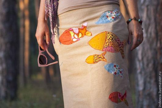 """Юбки ручной работы. Ярмарка Мастеров - ручная работа. Купить Юбка """"с рыбами"""". Handmade. Бежевый, летняя юбка"""