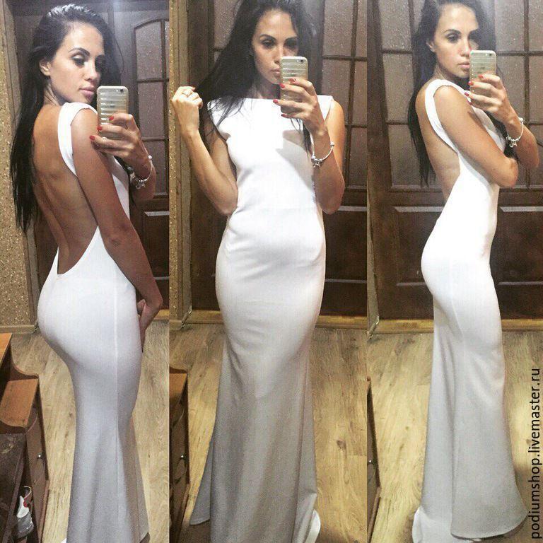 10e6e79ab2f Белые платье в пол с открытой спиной