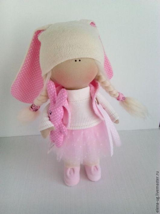 Коллекционные куклы ручной работы. Ярмарка Мастеров - ручная работа. Купить Интерьерная текстильная кукла-зайка. Handmade. Бледно-розовый
