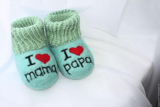 """Обувь ручной работы. Ярмарка Мастеров - ручная работа. Купить Пинетки """"Люблю маму и папу"""". Handmade. Мятный, пинетки для малыша"""
