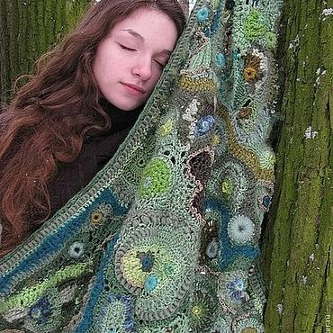 """Аксессуары ручной работы. Ярмарка Мастеров - ручная работа Шаль крючком """"Таинственный лес """". ажурный фриформ. Handmade."""