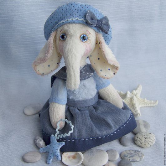 """Мишки Тедди ручной работы. Ярмарка Мастеров - ручная работа. Купить """"Слоняшка с морской звездой"""". Handmade. Голубой, ручная работа"""