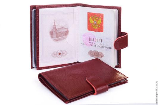 Обложки ручной работы. Ярмарка Мастеров - ручная работа. Купить Обложка для паспорта и автодокументов на кнопке. Handmade. Бордовый, обложка для паспорта
