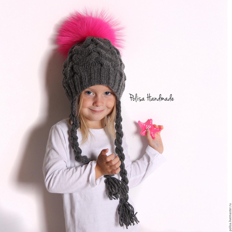 Зимняя шапка с ярким помпоном, Шапки, Москва, Фото №1