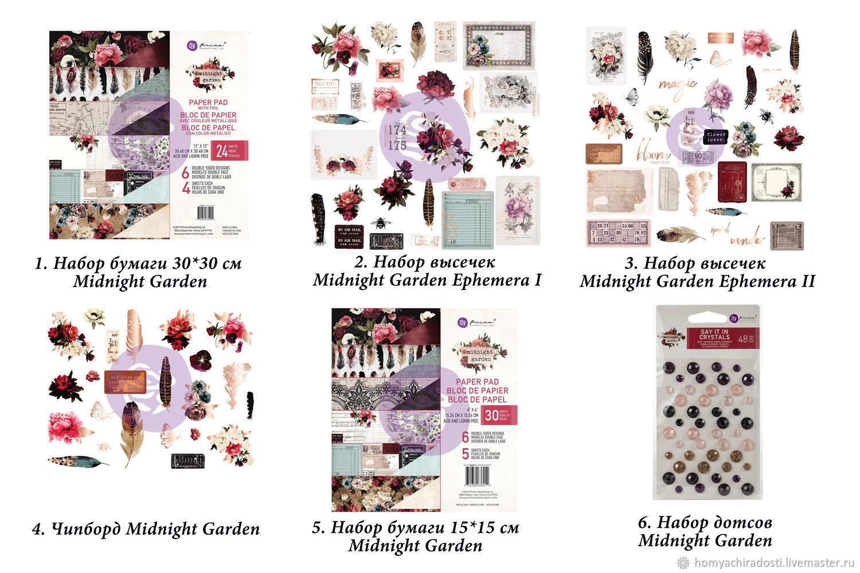 Элементы коллекции Prima Marketing Midnight Garden, Бумага для скрапбукинга, Пушкин,  Фото №1