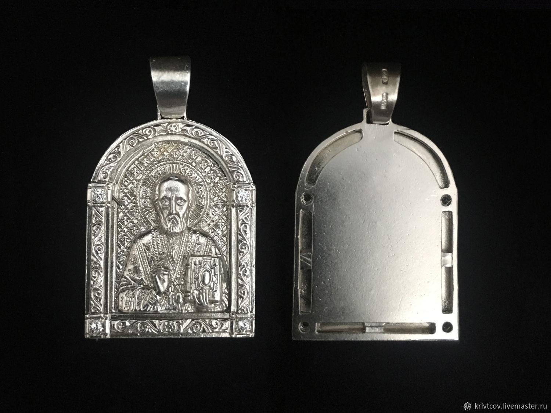 Икона Николай Чудотворец, вес 10 гр. Серебро 925 пробы, Народные украшения, Пенза, Фото №1