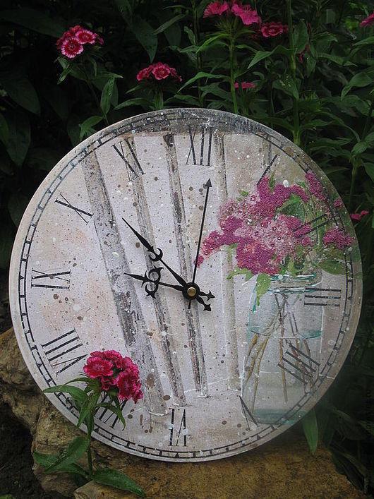 """Часы для дома ручной работы. Ярмарка Мастеров - ручная работа. Купить """"Сирень"""". Handmade. Кремовый, часы для дома, состаривание, Декупаж"""