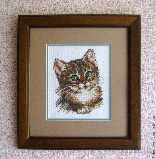 """Животные ручной работы. Ярмарка Мастеров - ручная работа. Купить Вышитая картина""""Котенок"""". Handmade. Котенок, подарок девушке"""