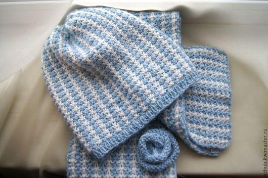 Комплекты аксессуаров ручной работы. Ярмарка Мастеров - ручная работа. Купить Шапочка шарф и брошь Снегурка вязаный комплект Бело-голубой. Handmade.