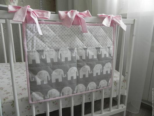 """Детская ручной работы. Ярмарка Мастеров - ручная работа. Купить Кармашки на кроватку """"Слоники с розовым"""". Handmade. Бледно-розовый"""
