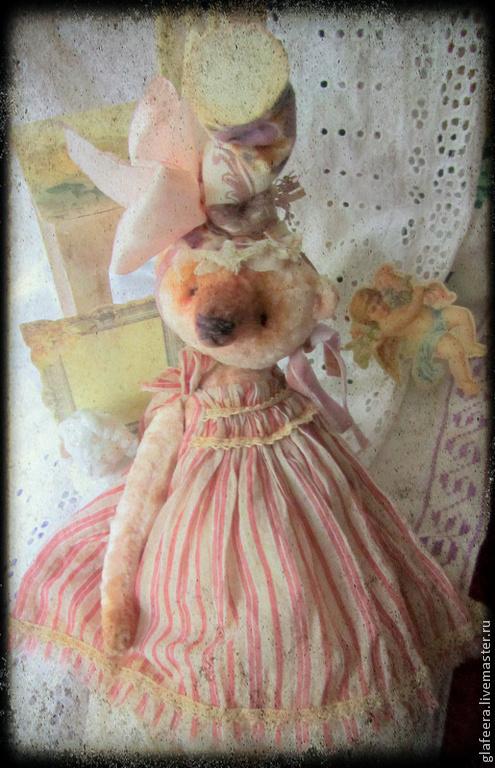 Мишки Тедди ручной работы. Ярмарка Мастеров - ручная работа. Купить Мисс Валери и ее шляпка. Handmade. Бледно-розовый