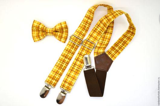 Галстуки, бабочки ручной работы. Ярмарка Мастеров - ручная работа. Купить Комплект детский 2-6 лет коричнево-желтый в клеточку. Handmade.