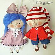 Мягкие игрушки ручной работы. Ярмарка Мастеров - ручная работа Буратино и Мальвина Сказка на Елке Куклы маленькие. Handmade.