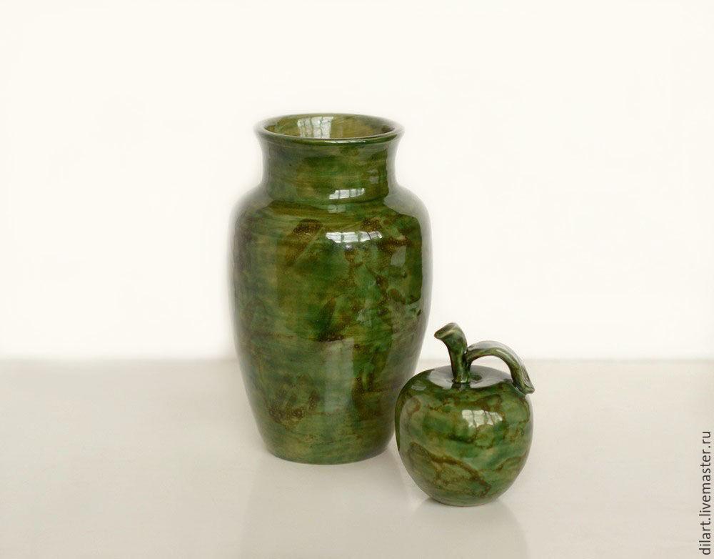 Вазы ручной работы. Ярмарка Мастеров - ручная работа. Купить Керамическая ваза и яблоко Нефритовый сад. Handmade. Ваза для цветов