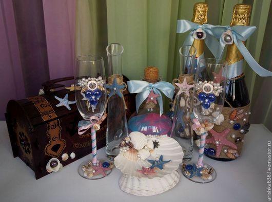 Свадебные аксессуары ручной работы. Ярмарка Мастеров - ручная работа. Купить Свадебный комплект в Морской тематике. Handmade. Свадебные аксессуары