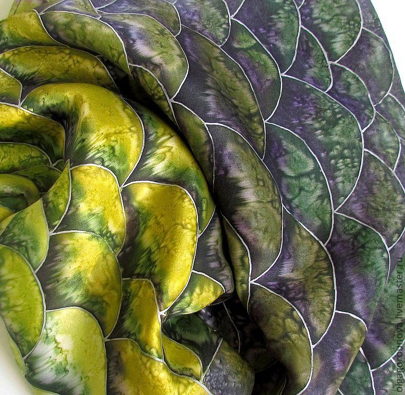 Batik scarf 'Snake', Scarves, Yaroslavl,  Фото №1